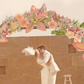 This Gorgeous Handmade Paper Flower Arch Was As Stunning Backdrop For Beautiful Texas Wedding