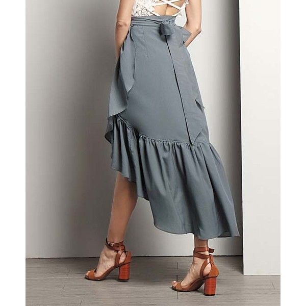 9be46a184d8a Reborn Collection Charcoal Chiffon Ruffle Wrap Skirt ($43) ❤ liked on  Polyvore featuring skirts, ruffled skirt, long chiffon skirt, long ruffle  skirt, ...