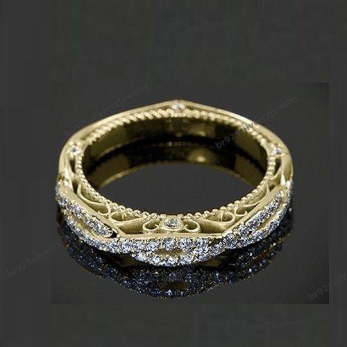 Size 5 12 Fashion Ladies 10K Yellow Gold Over Diamond Wedding Band Ring    EBay