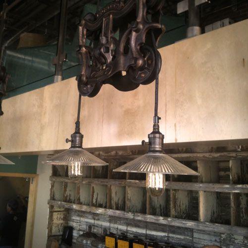 Barn Pulleys Become Lighting Fixtures. Dripp Coffee Shop