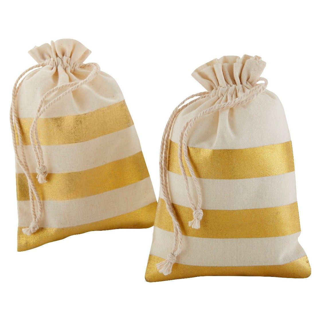 Gold Stripe Muslin Favor Bag - (Set of 12) | To Craft Fair ...