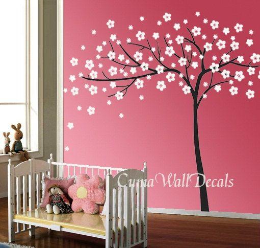Vinyl wall decals white tree sticker nature tree wall decals nursery flowers vinyl wall decals white tree sticker nature tree wall by cuma 7700 mightylinksfo