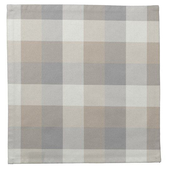 Tan, Gray, and Ivory Plaid Cloth Napkin | This neutral plaid napkin in shades of tan, grey, and ivory will add a cozy touch to you rustic home decor.