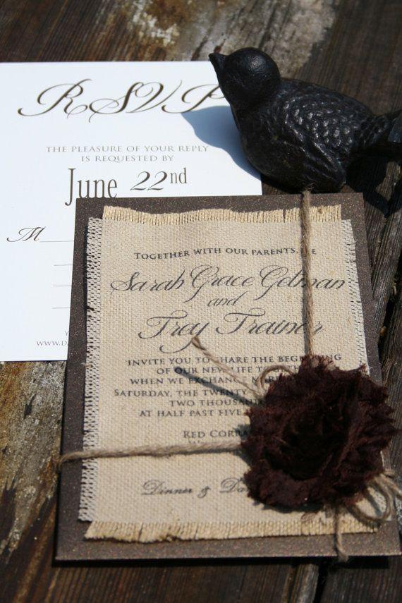 Burlap printed wedding invitations | הזמנות | Pinterest | Wedding