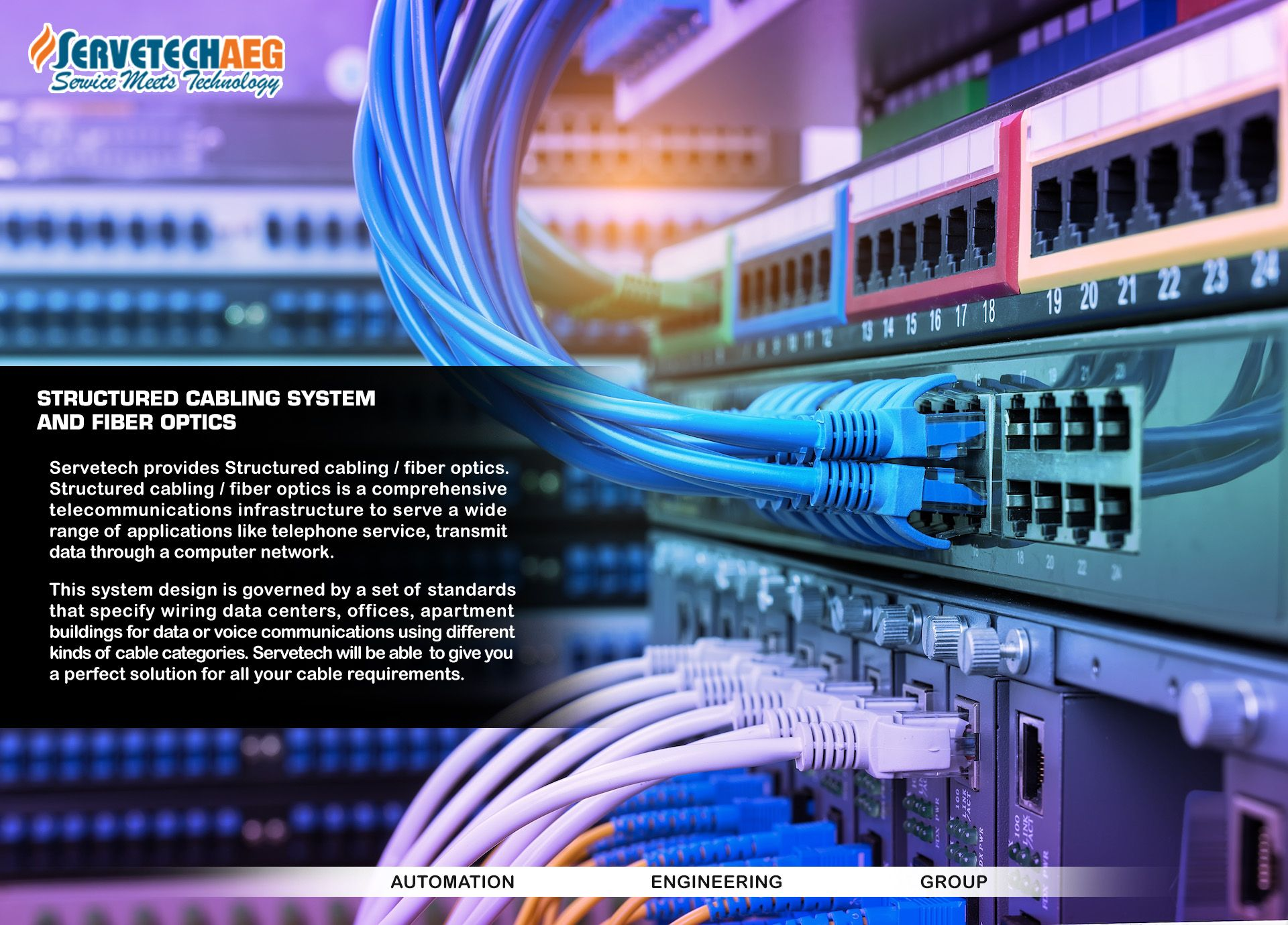 Structured Cabling System And Fiber Optics Servetech Provides Structured Cabling Fiber Optics Structured C Fiber Optic Network Monitor Cctv Security Cameras