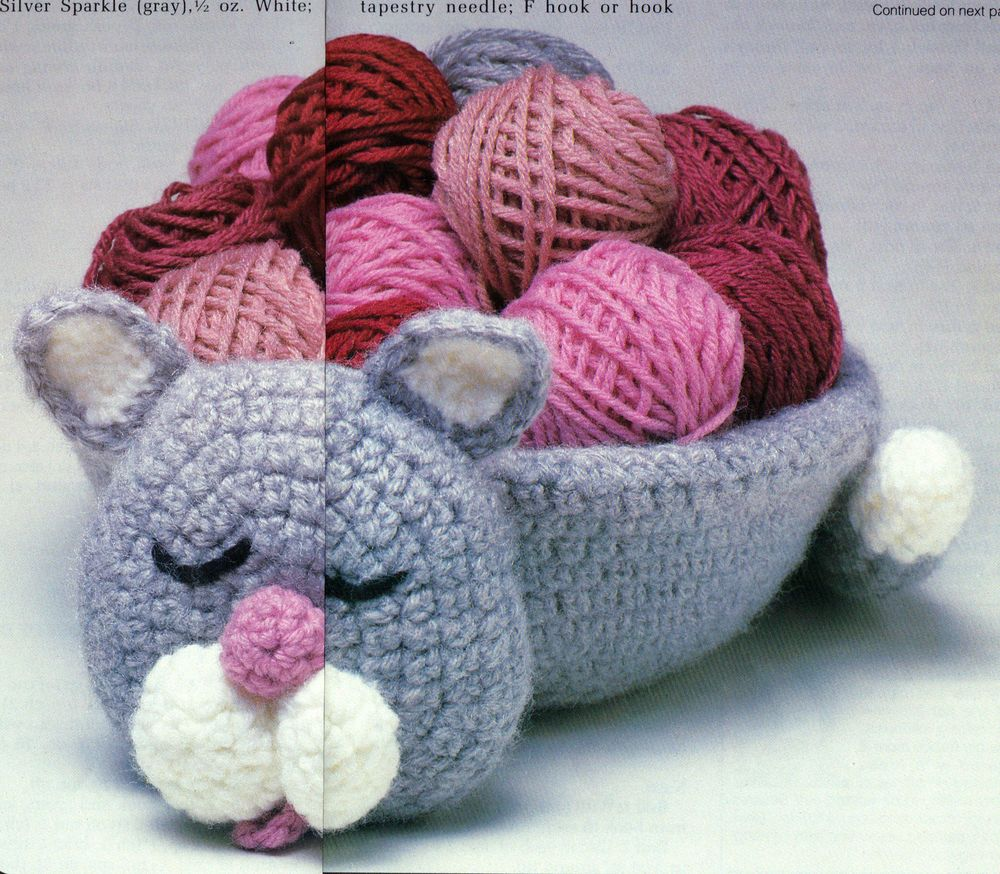CUTE Kitty Basket Cover/Decor/Crochet Pattern Instructions | Damas ...