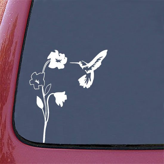 CAR - Hummingbird and Flower (WHITE) Car Vinyl Decal Sticker