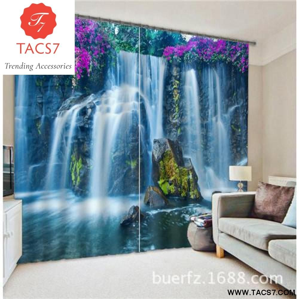 Waterfall landscape d photo printing blackout window curtains for