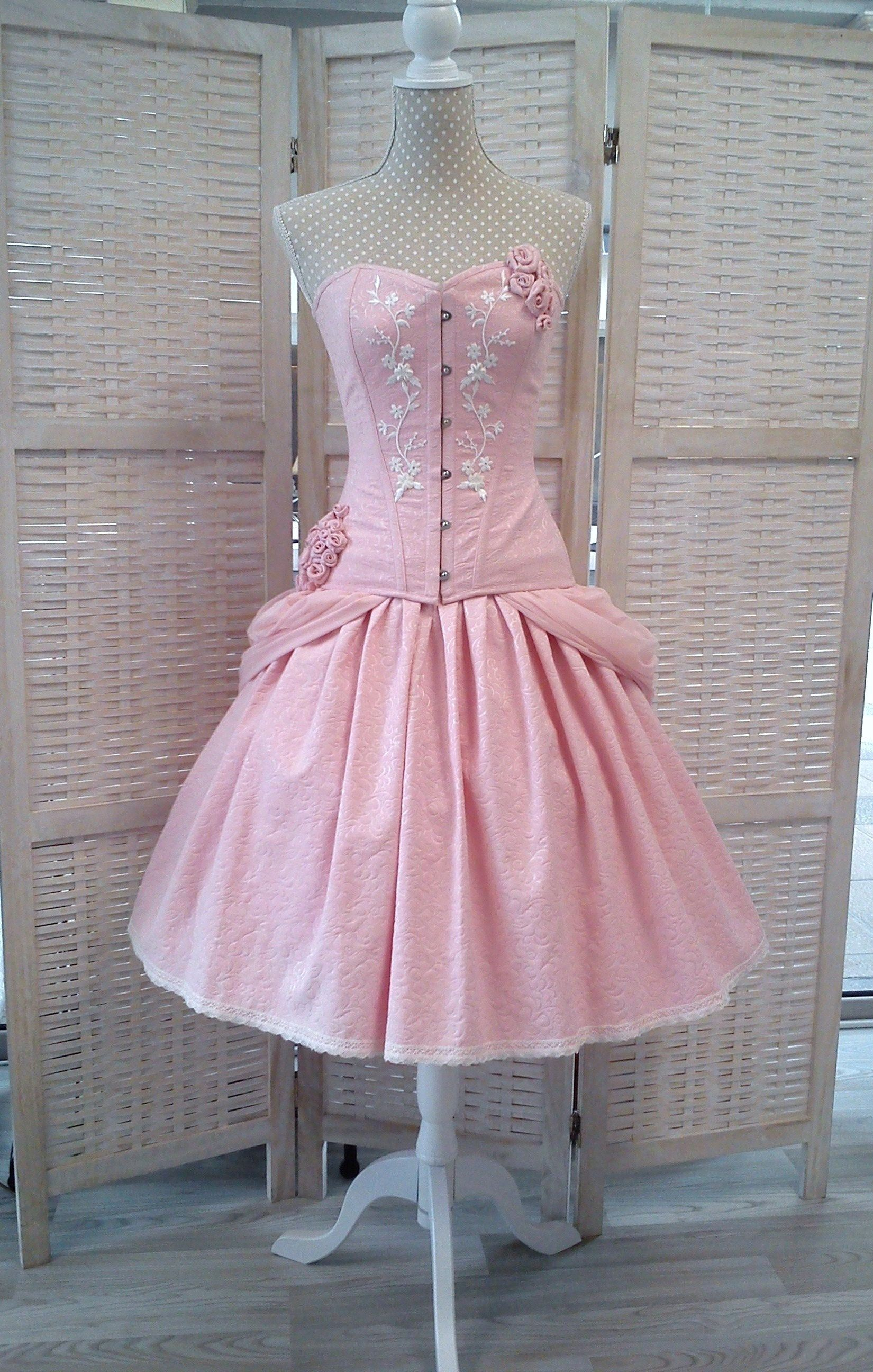 Fantasy short ball princess wedding skirt - Pink brocade skirt ...