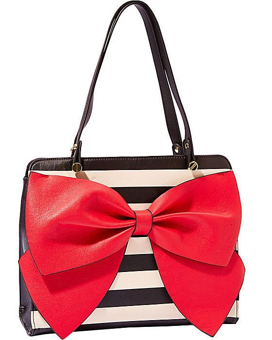 7ed62369eff Betsey Johnson BOW REGARD LARGE SATCHEL, Black/Cream STRIPES w/ RED BOW  BJ36110 #BetseyJohnson #Satchel