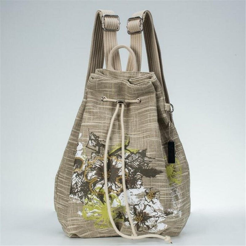 Elegant Fashion Embroidery Linen Vintage-Style Drawstring Backpack 3 Colors