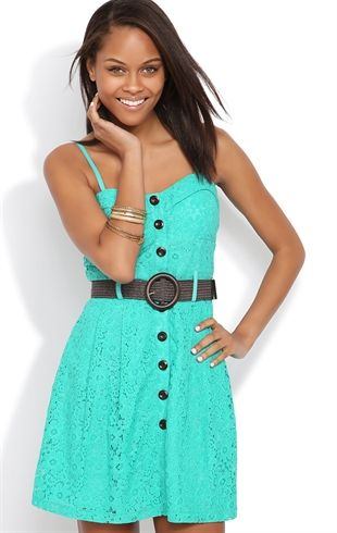 af1c53f986828 Deb Shops  Mint  Daisy  Lace Skater  Dress with Bra Bodice and Button Front   32.90