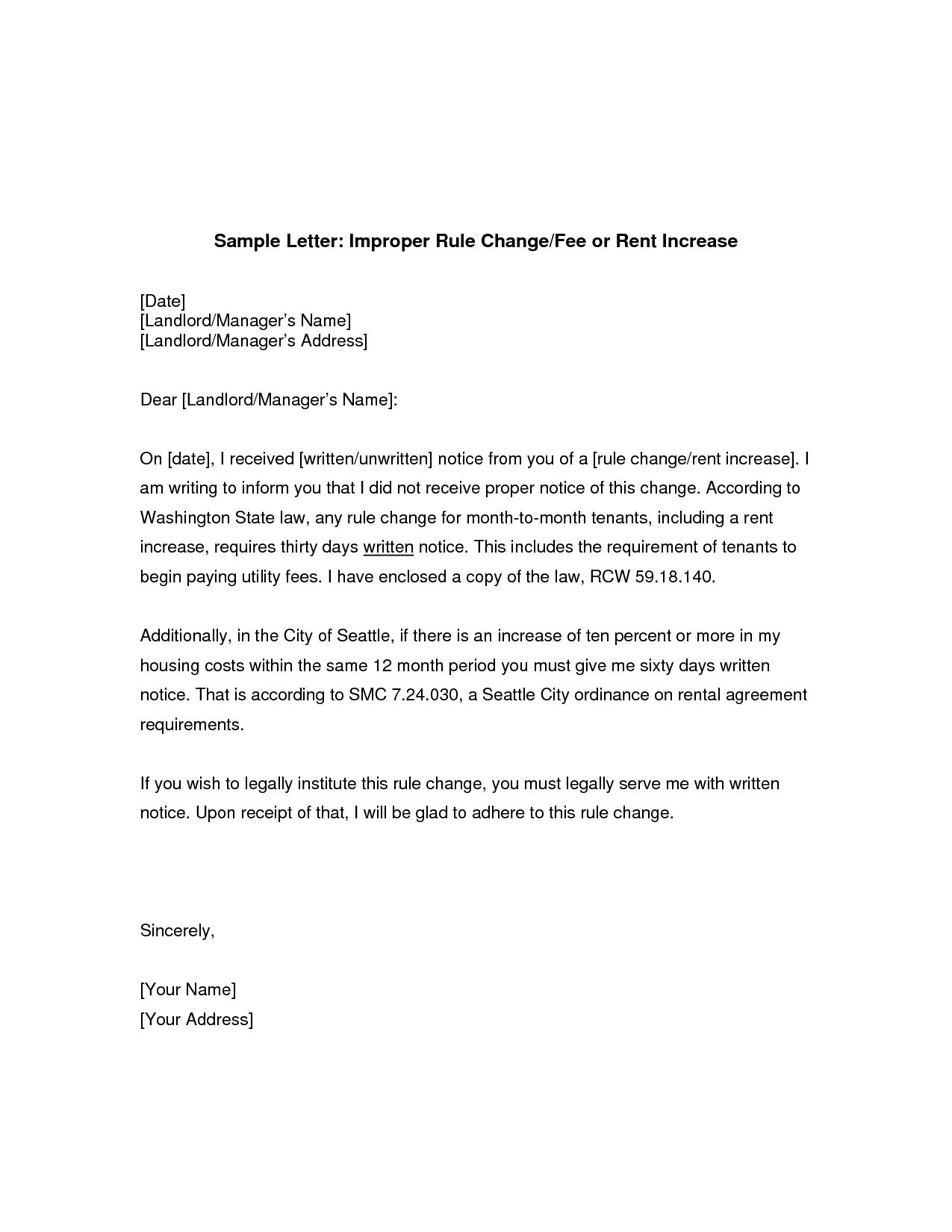 Rent Increase Letter Gplusnick Regarding Rent Increase Letter