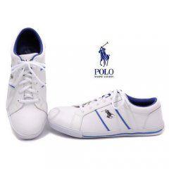 15f5a11c6bbf Polo Hommes Vaughn cuir Shoes-White Blue · Ralph Lauren ...