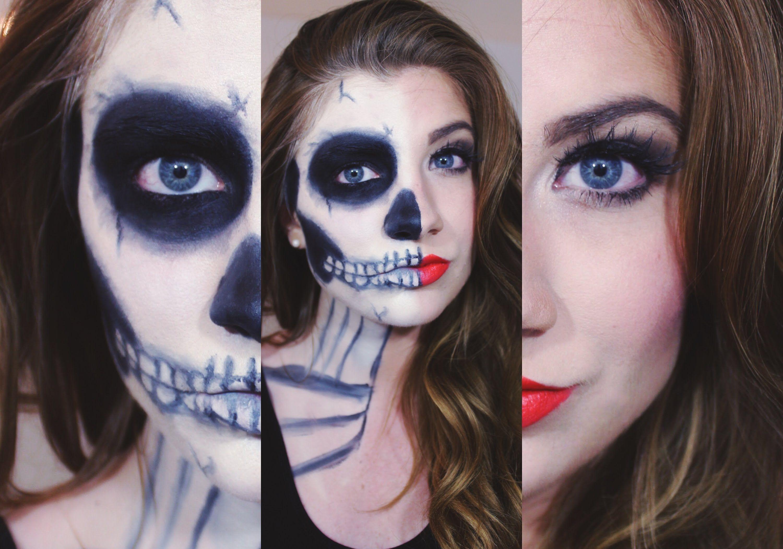 Halloween Half Skull Makeup Tutorial | Face Powder | Pinterest ...