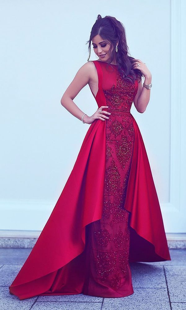 A-Line Round Neck Asymmetry Red Stretch Satin Prom Dress with Lace ...