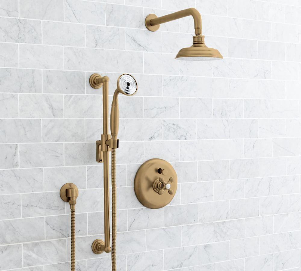 Langford Pressure Balance Cross Handle Faucet Set Brass Finish Bath Bathroom Faucets Pottery Barn In 2020 Shower Faucet Sets Shower Faucet Cross Handle Faucet