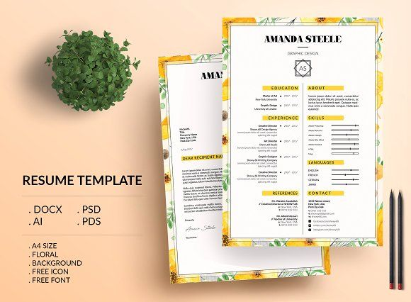 Floral CV \/ Resume Template Creative and modern resume templates - templates of resumes