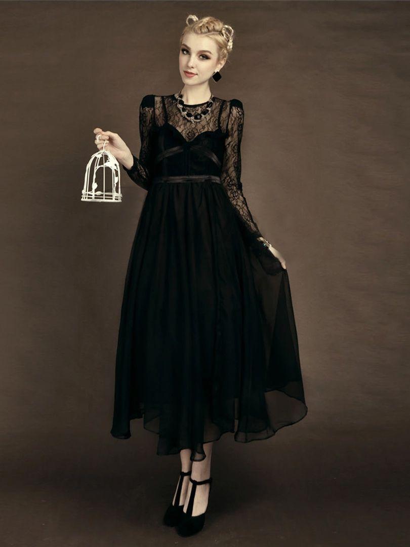 Black sheer lace long sleeve flounce hem maxi party dress