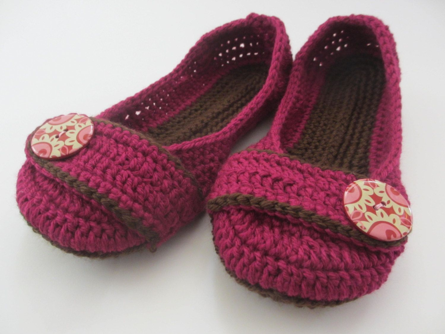 Photo of Women's Crochet Slippers – Button Slippers – fuschia and brown – womens crochet shoes knit slippers