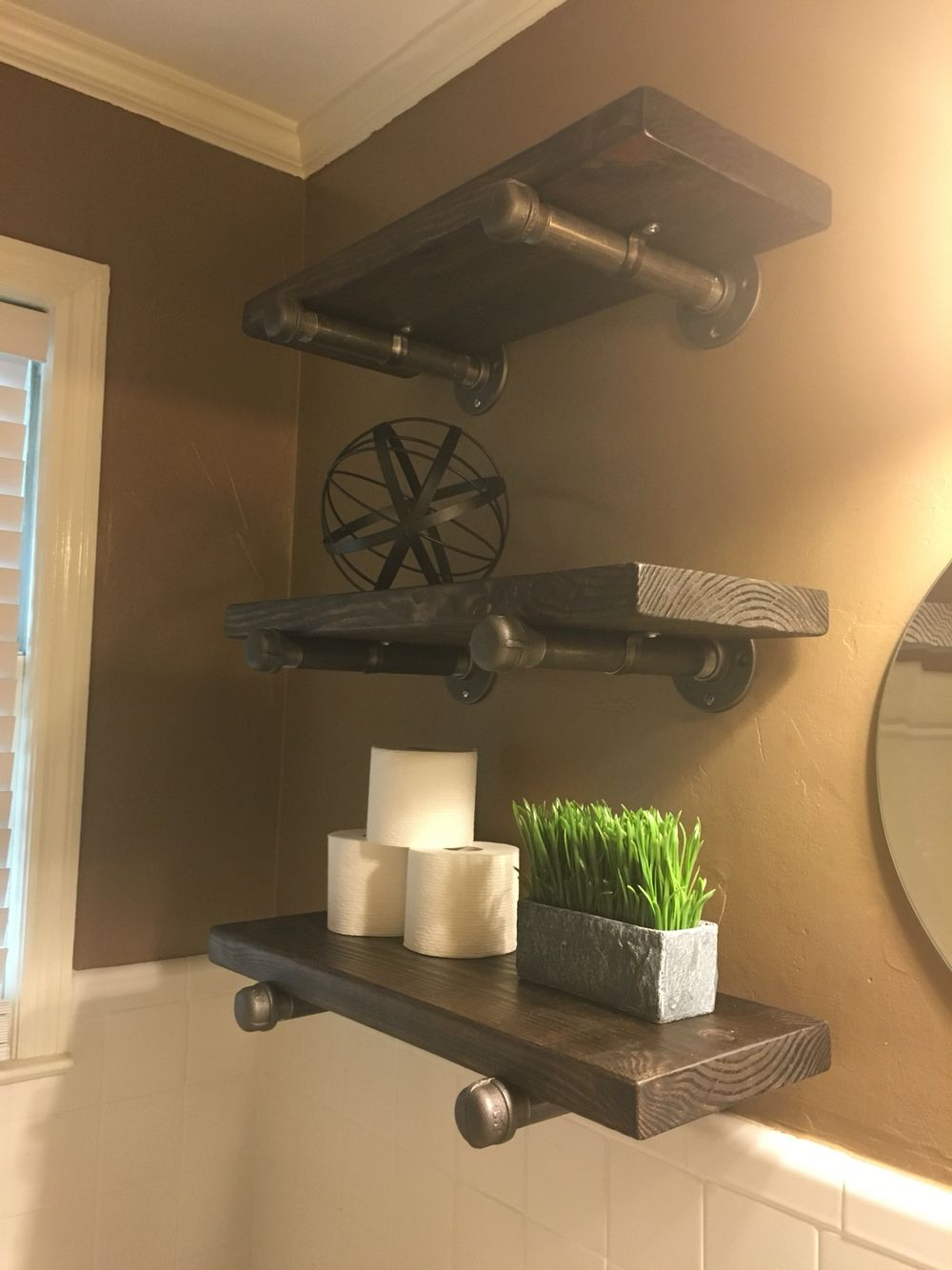 Industrial bathroom shelves! 10\