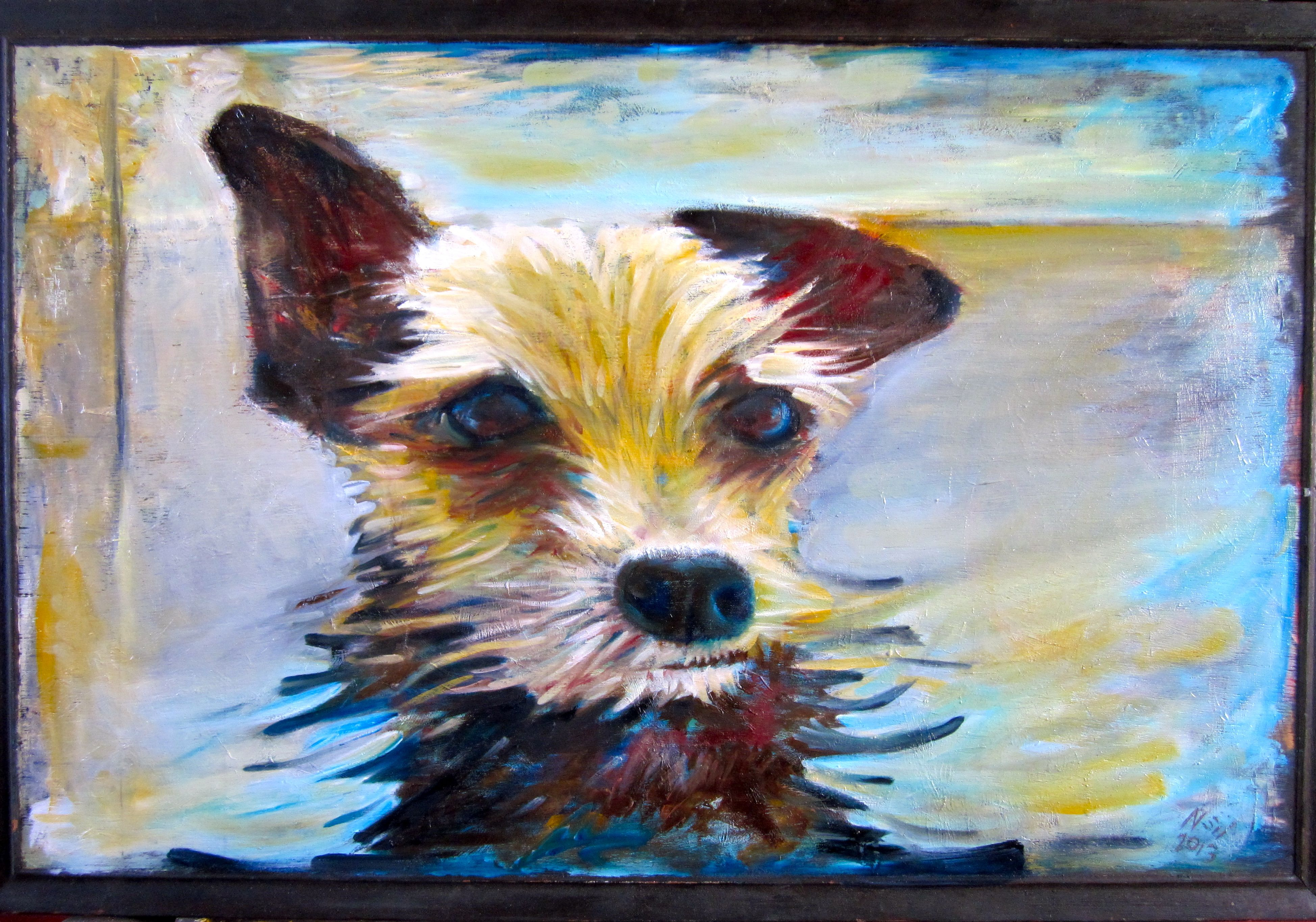 """""""The dog named Bruce"""" by Neil Collins. Oil on wood 17"""" x"""