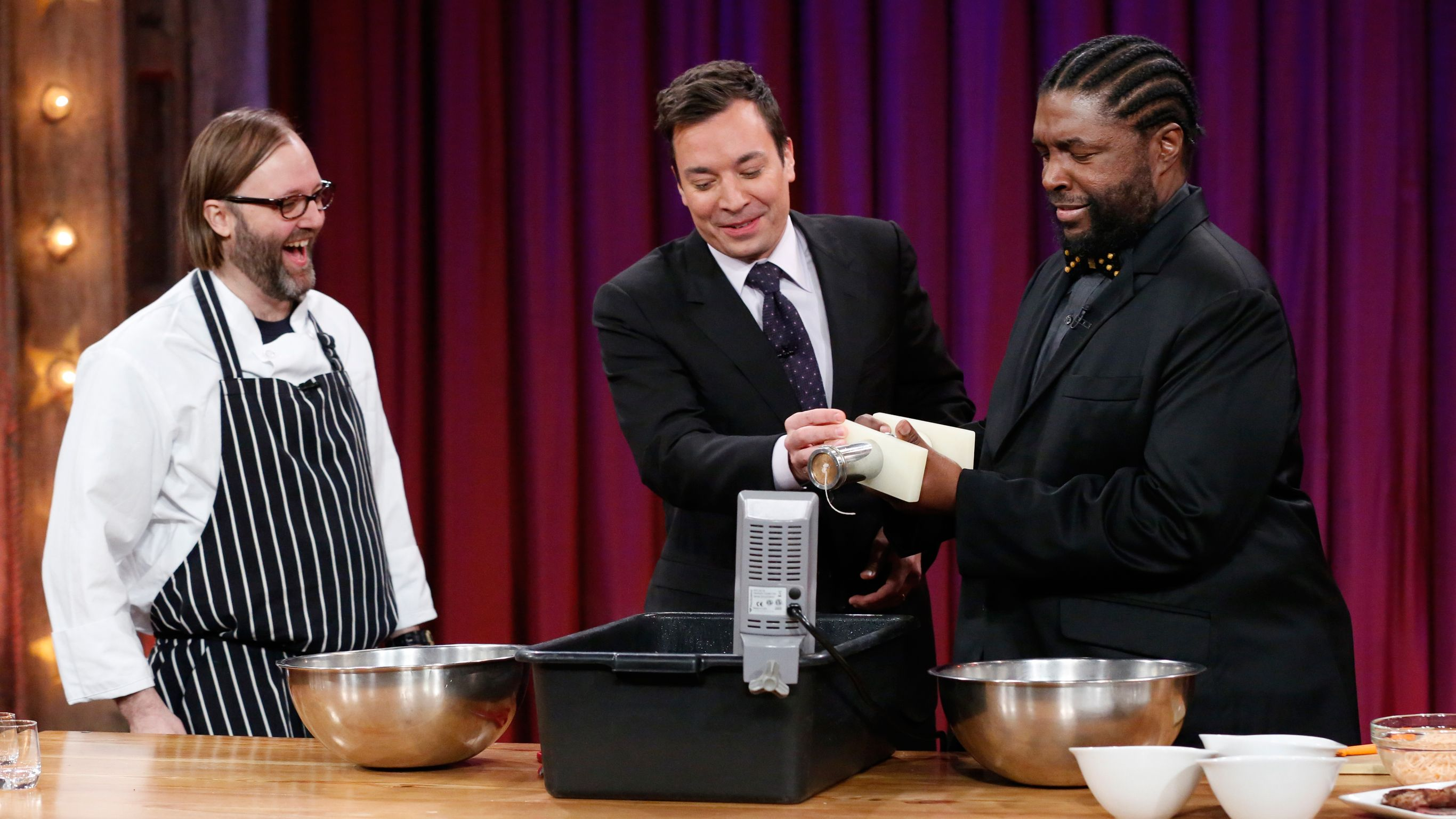 Chef Wylie Dufresne teaches Jimmy Fallon and Questlove how to make shrimp noodles: http://www.latenightwithjimmyfallon.com/blogs/2014/01/wylie-dufresne-takes-shrimp-to-a-new-level/
