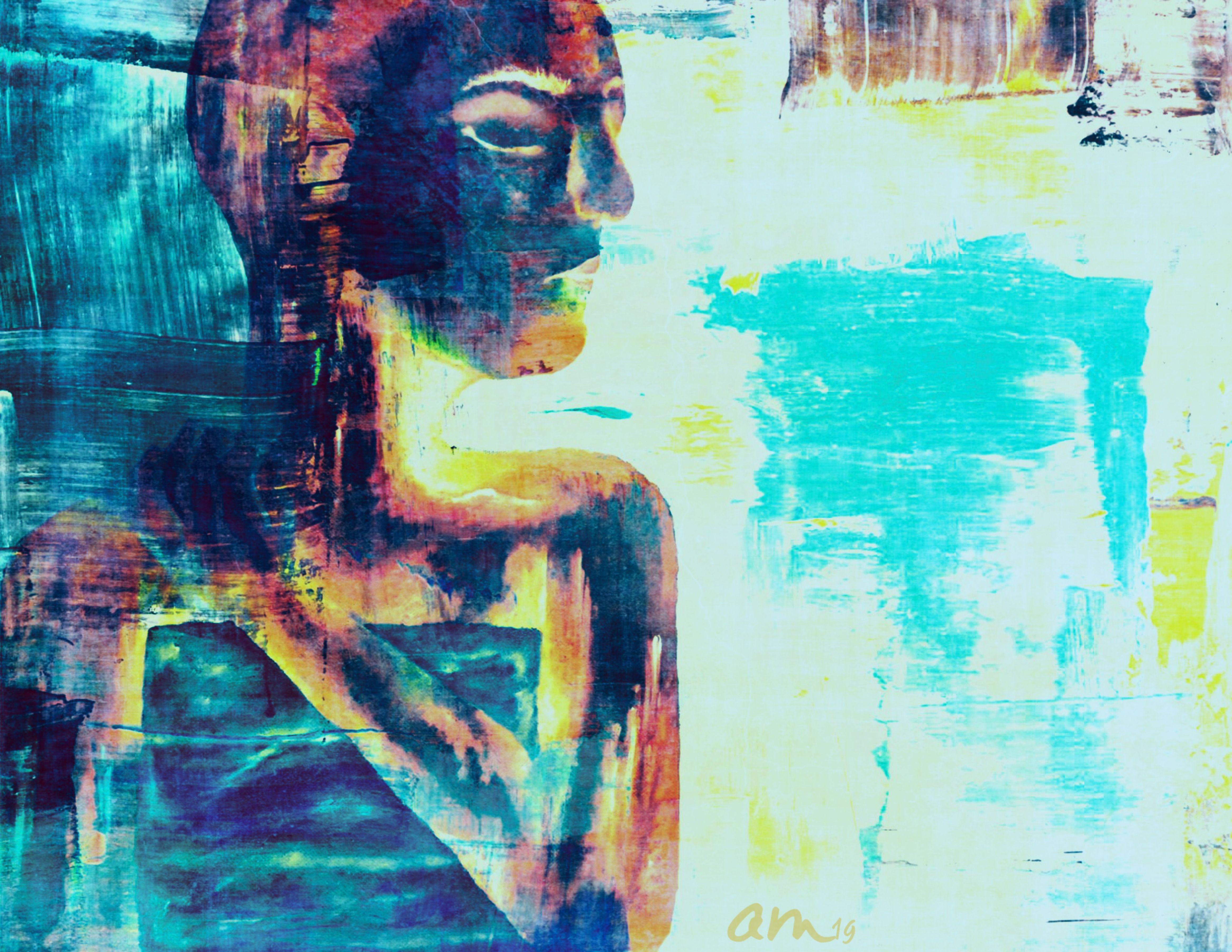 Side portrait created in oils Image Description: portrait of