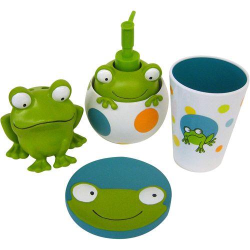 peeking frogs 4pc bath accessory set - walmart | kids bathroom