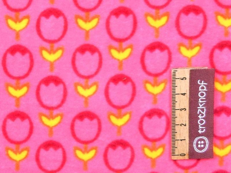 Sehr weicher Nickystoff mit Blume/Tulpe im Retrostyle in pink