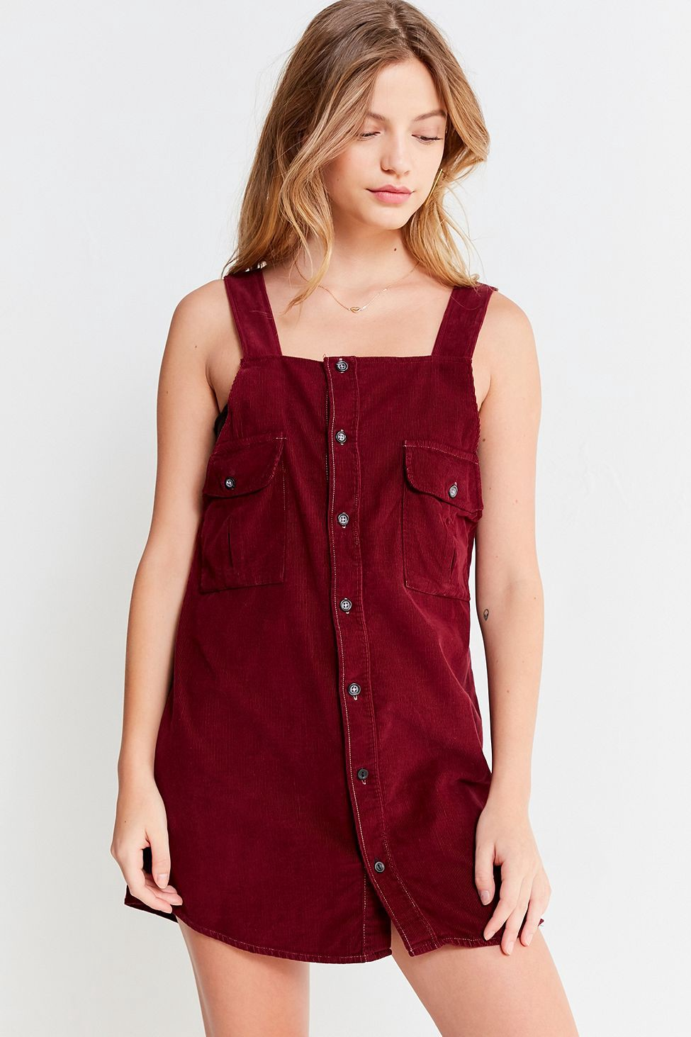 36a470a1b54 Urban Outfitters Renewal Recycled Corduroy Pinafore Dress - M Navy ...