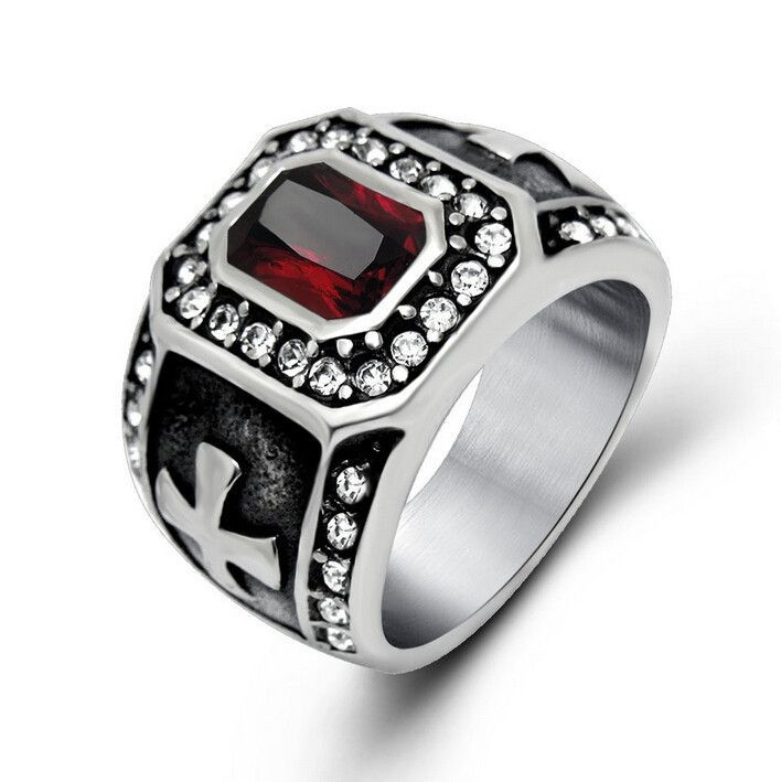 punk real stainless steel ruby men ring big red stones finger rings for man high quality