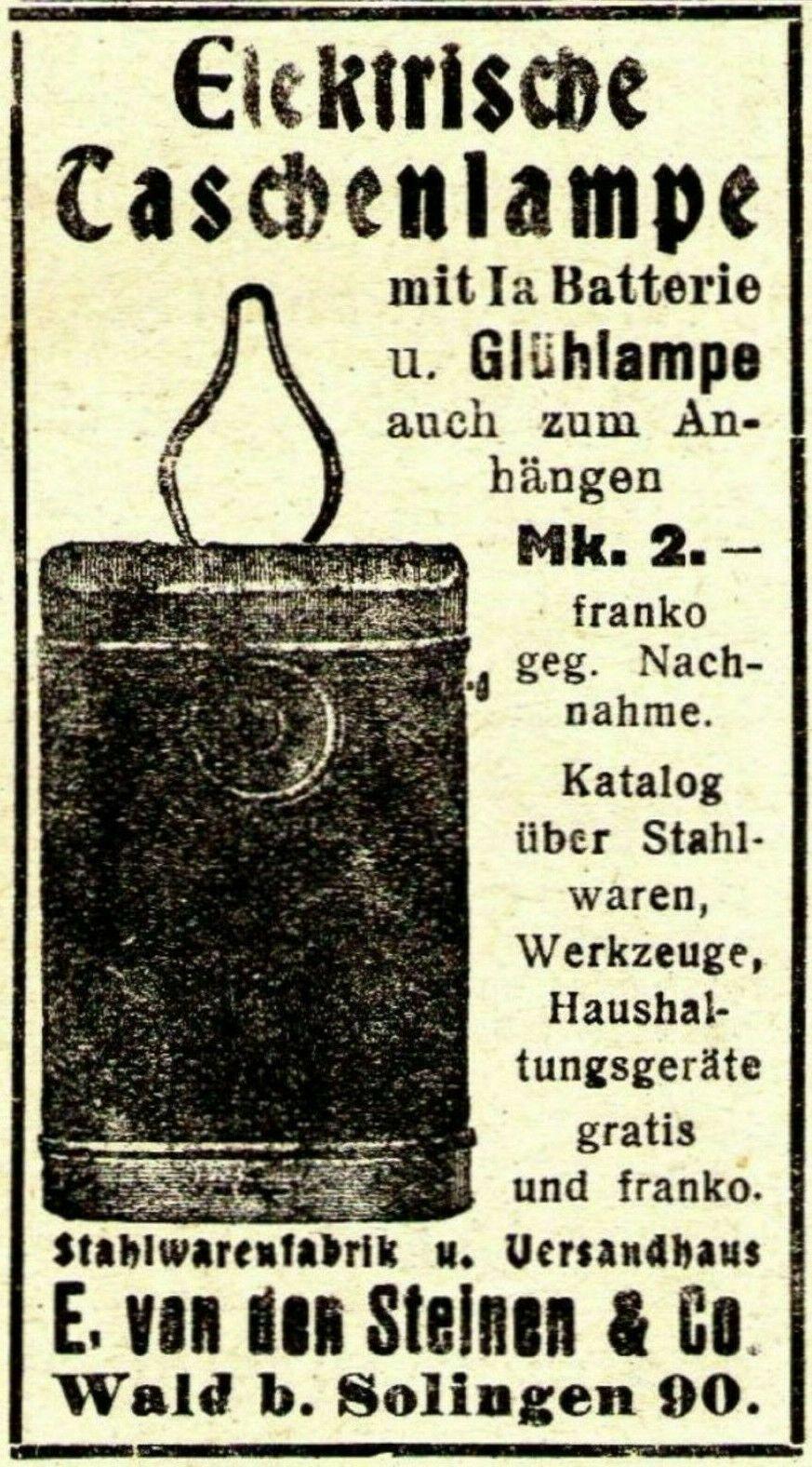 12 Original Ads Germany 1901 1925 All For Household Von Den Steinen Solingen Werbung Lampen Und Taschenlampe