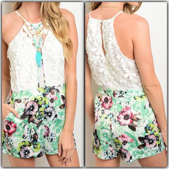 """Ivory Green Floral Crochet Romper This combination romper features a crochet bodice and floral shorts with hidden pockets. Has spaghetti straps, hidden back zipper.  Sleeveless Crochet Top, White/Green Floral Bottom 95% Polyester 5% Spandex,..                                              Measurements taking from armpit to armpit laying flat Bust: Small 17"""" Medium 18"""" Large 19"""" Waist 13.5"""" Medium 14.5"""" Large 15""""  Available in Small Medium &  Large Shorts"""