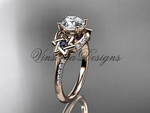 rose gold diamond star of david jewish ring engagement ring cultured pearl - Jewish Wedding Rings