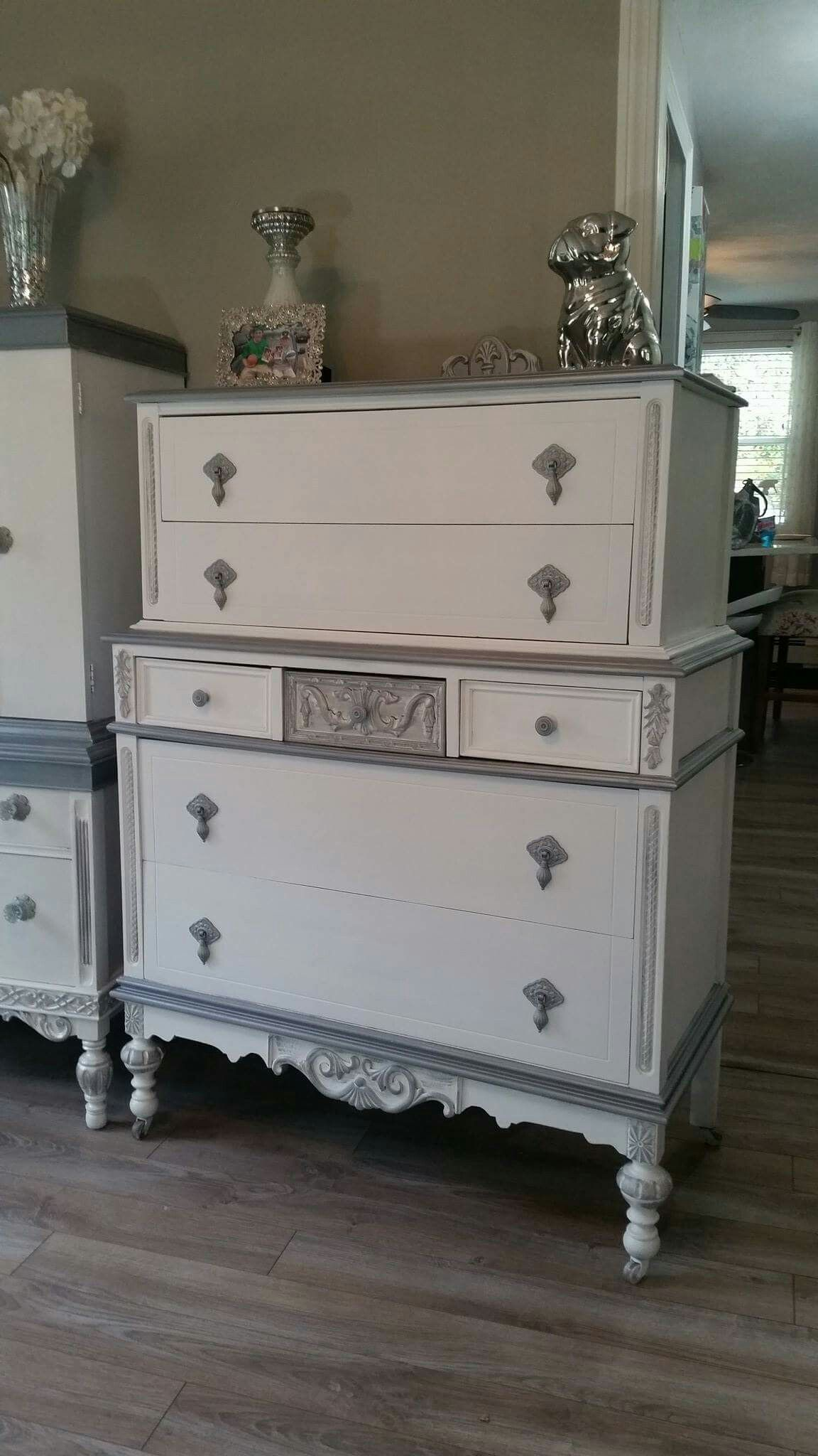 Vintage Tall Chest Dresser With Original Casters Repurposed Upcycled And Refinished In White Chalk Shabby Furniture Shabby Chic Dresser Shabby Chic Furniture [ 2048 x 1152 Pixel ]