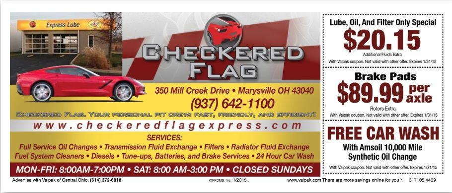 December 2014 coupon free cars car wash checkered flag