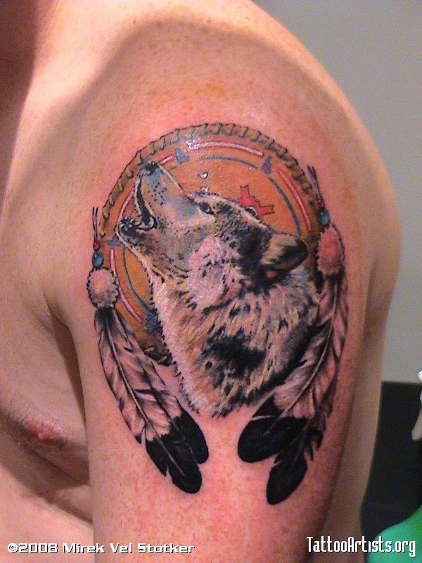 wolves tattoos   wolf and dreamcatcher tattoo by Mirek vel ...