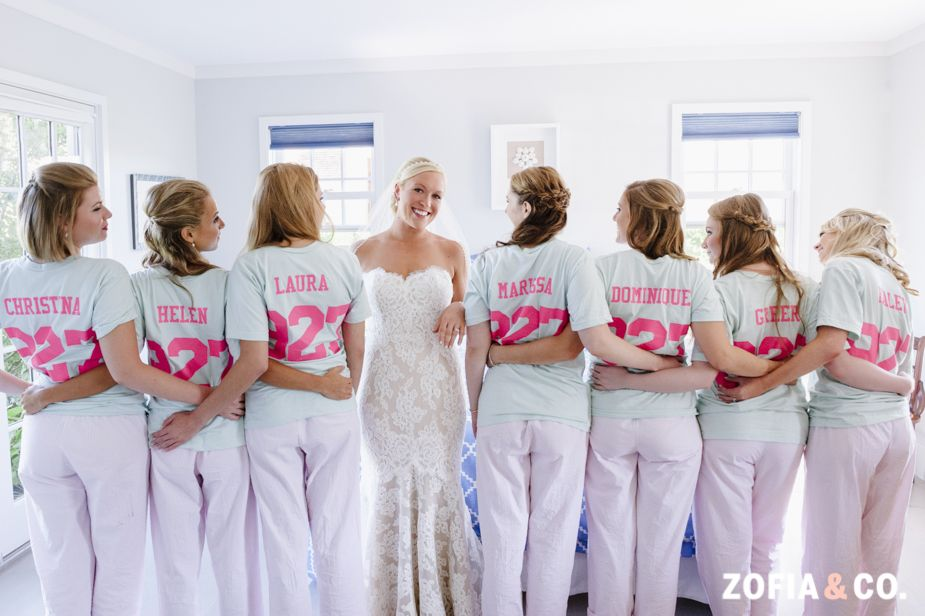 Matching Bridesmaids Getting Ready Outfits Nantucket Wedding