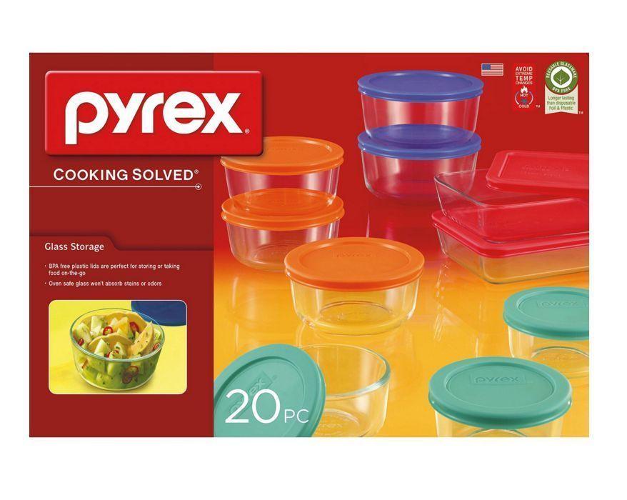 Pyrex Glass Storage Set 20 Piece Food Containers Bowls W Lids