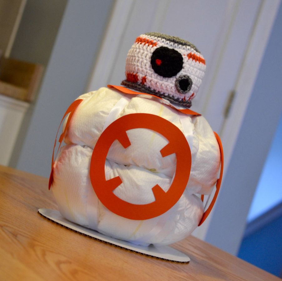 Star Wars Diaper Cake, BB 8, Baby Shower Centerpiece, Decoration, Gift