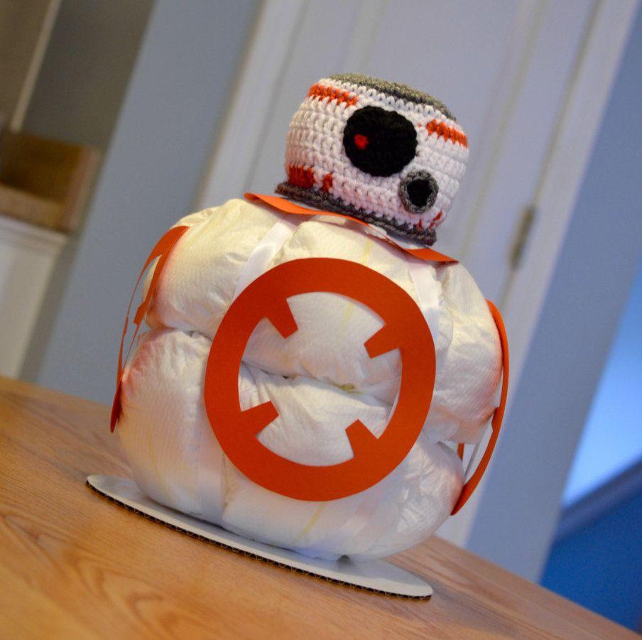 Star Wars Diaper Cake, BB 8, Baby Shower Centerpiece, Decoration, Gift