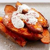 Baked Sweet Potatoes with Sour Cream.