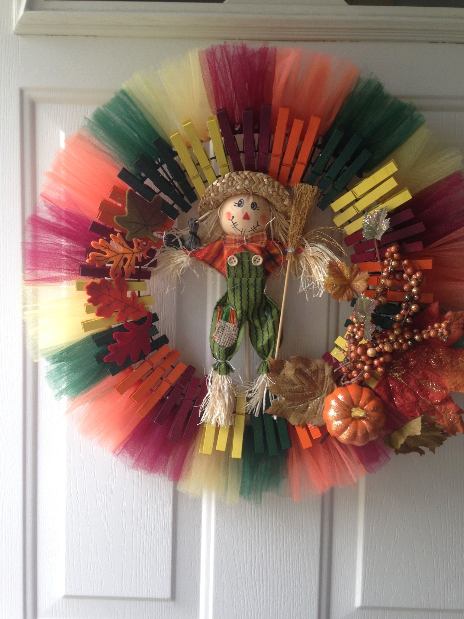 clothespin wreath i added tulle to the last ring on the form it gives it