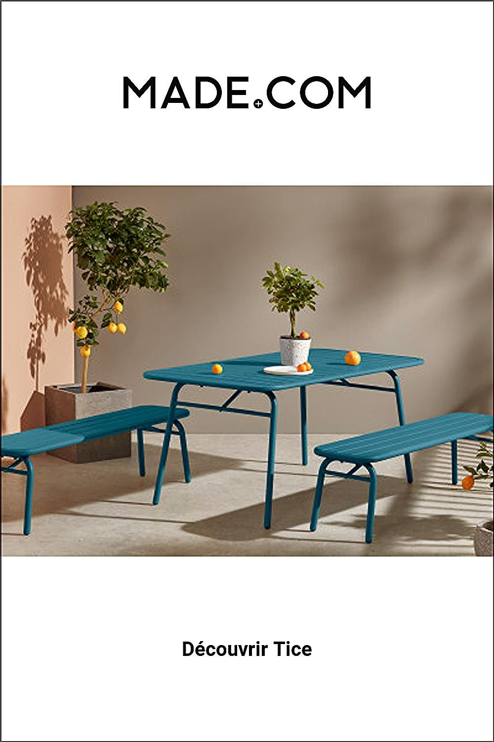 Made Com Ensemble Table Et Chaises De Jardin Canard 6 Seater Dining Table Bench Set Table