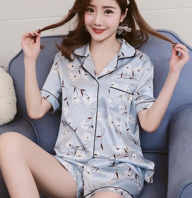 518580bb7f Smmoloa Short Printed Silk Pajamas Set Women Summer Sleepwear Sexy Nightwear  Short Sleeve Satin Pyjama