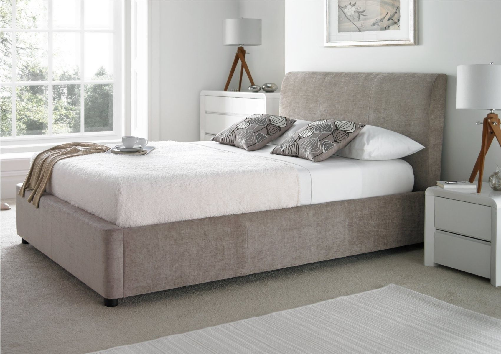 Serenity Upholstered Ottoman Storage Bed - Mink - Storage Beds - Beds & Serenity Upholstered Ottoman Storage Bed - Mink - Storage Beds ...