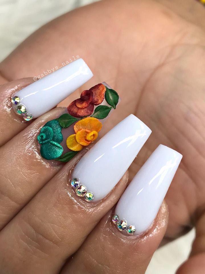 Love This For Summer Unas Nailart Nails Nail Designs Acrylic Nail Designs White Acrylic Nails