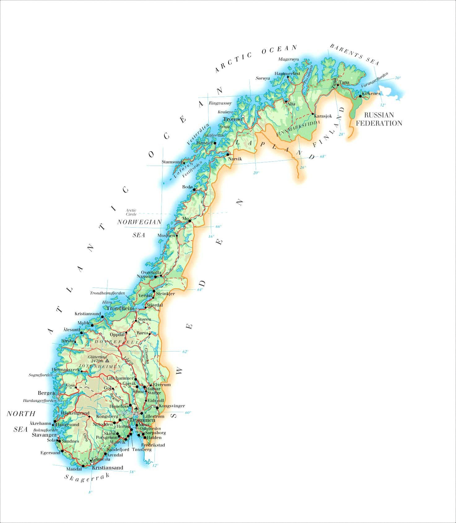 norway Large detailed physical map of Norway with roads cities