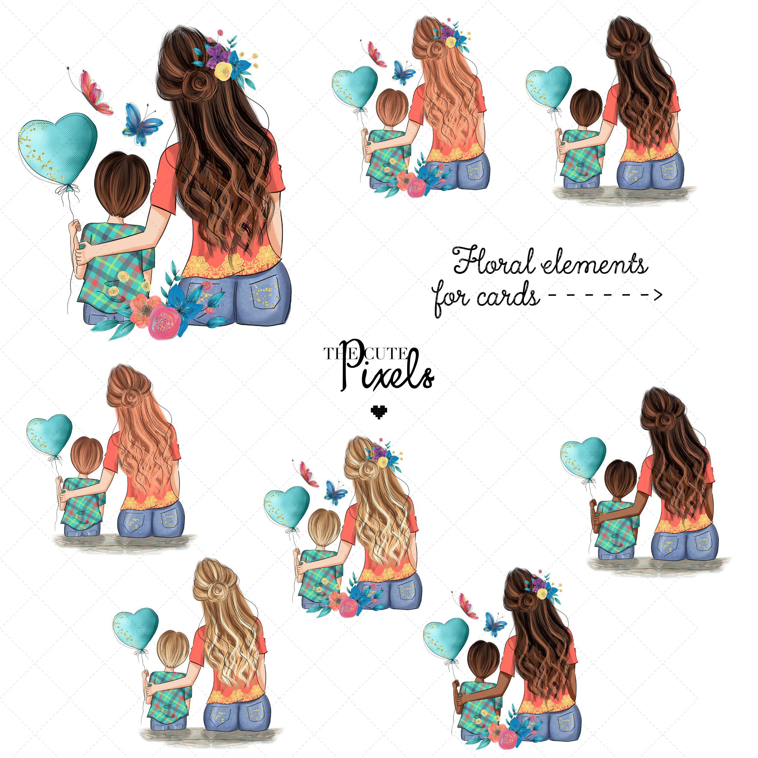Mother And Daughter Clipart Mothers Day Clipart Mother And Etsy Mother And Daughter Drawing Clip Art Mother Art